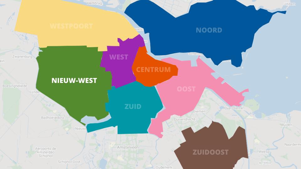 Mapa de Nieuw-West em Amesterdão