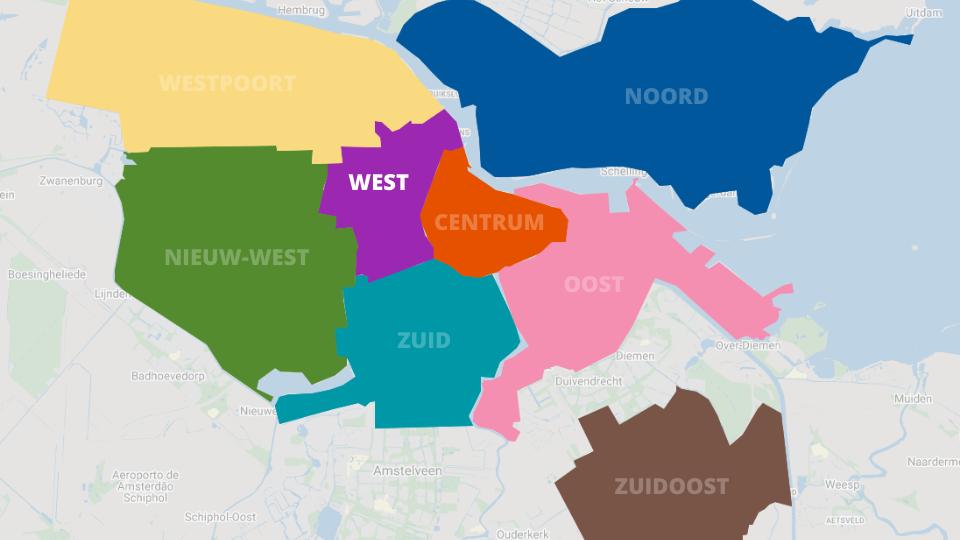 Mapa de Oud-West em Amesterdão