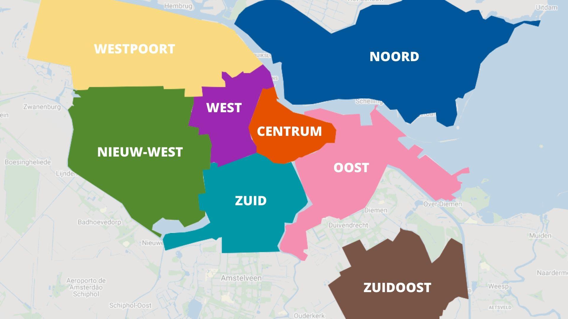 Mapa dos Distritos de Amesterdão
